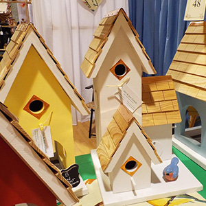 bright color bird houses